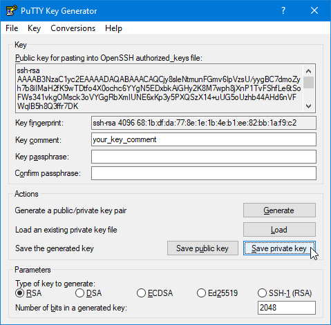 Use PuTTYgen to convert ssh-rsa PEM files to .ppk files